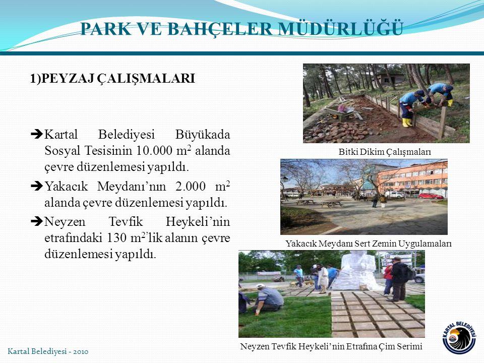 PARK VE BAHÇELER MÜDÜRLÜĞÜ 1)PEYZAJ ÇALIŞMALARI  Kartal Belediyesi Büyükada Sosyal Tesisinin 10.000 m 2 alanda çevre düzenlemesi yapıldı.  Yakacık M