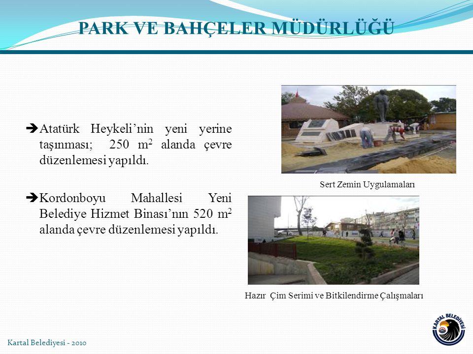  Atatürk Heykeli'nin yeni yerine taşınması; 250 m 2 alanda çevre düzenlemesi yapıldı.  Kordonboyu Mahallesi Yeni Belediye Hizmet Binası'nın 520 m 2
