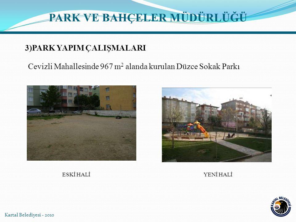 PARK VE BAHÇELER MÜDÜRLÜĞÜ Kartal Belediyesi - 2010 Cevizli Mahallesinde 967 m 2 alanda kurulan Düzce Sokak Parkı YENİ HALİESKİ HALİ 3)PARK YAPIM ÇALI
