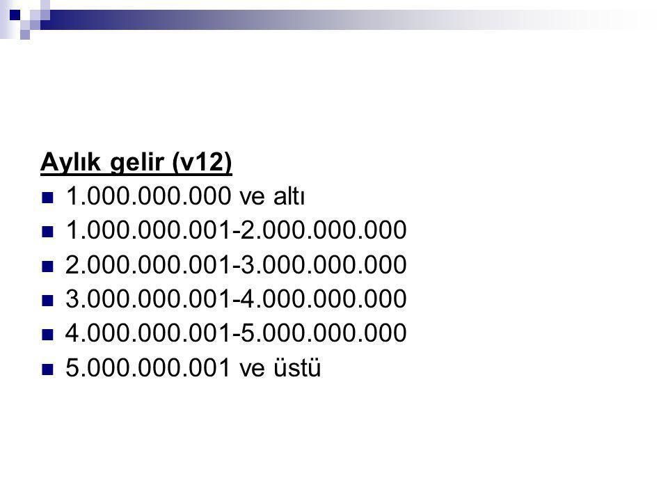 Aylık gelir (v12) 1.000.000.000 ve altı 1.000.000.001-2.000.000.000 2.000.000.001-3.000.000.000 3.000.000.001-4.000.000.000 4.000.000.001-5.000.000.00
