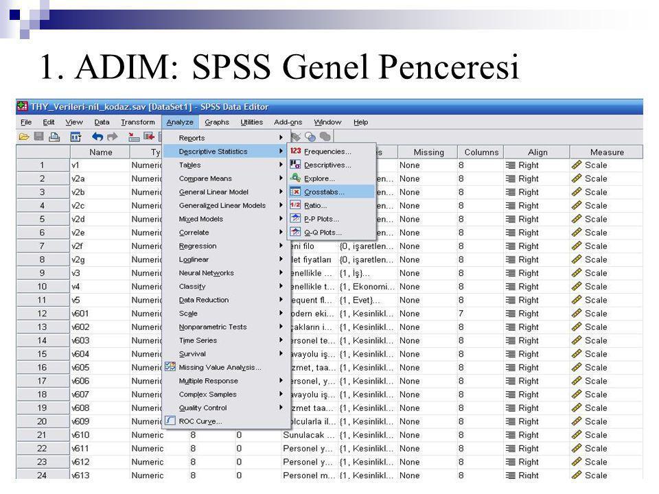 1. ADIM: SPSS Genel Penceresi
