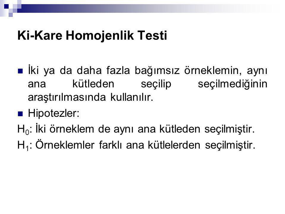 Ki-Kare Homojenlik Testi İki ya da daha fazla bağımsız örneklemin, aynı ana kütleden seçilip seçilmediğinin araştırılmasında kullanılır. Hipotezler: H