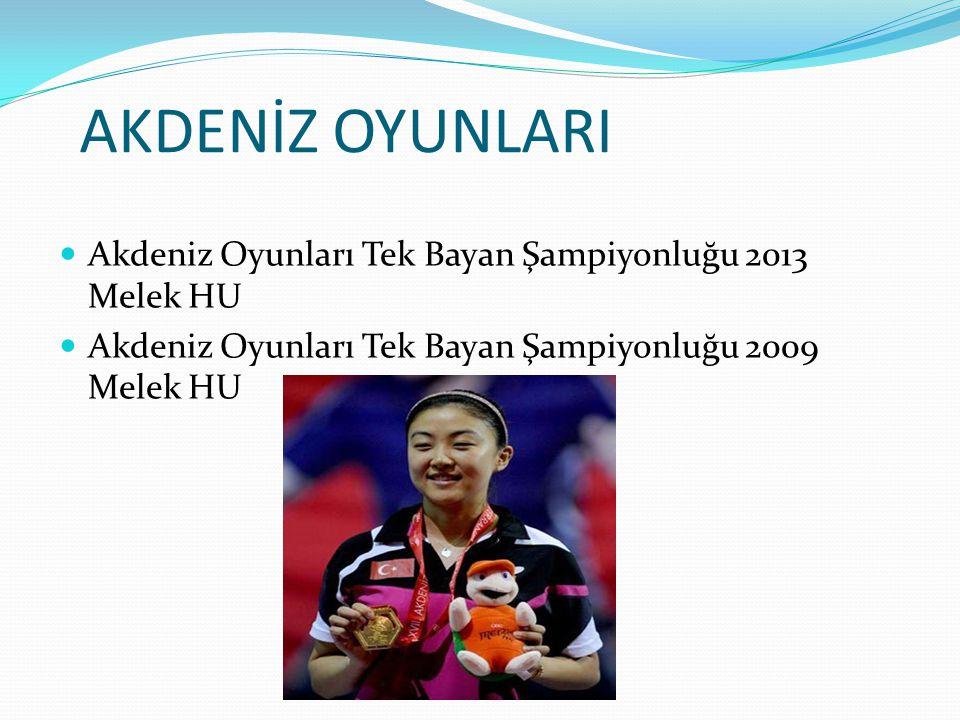 AKDENİZ OYUNLARI Akdeniz Oyunları Tek Bayan Şampiyonluğu 2013 Melek HU Akdeniz Oyunları Tek Bayan Şampiyonluğu 2009 Melek HU