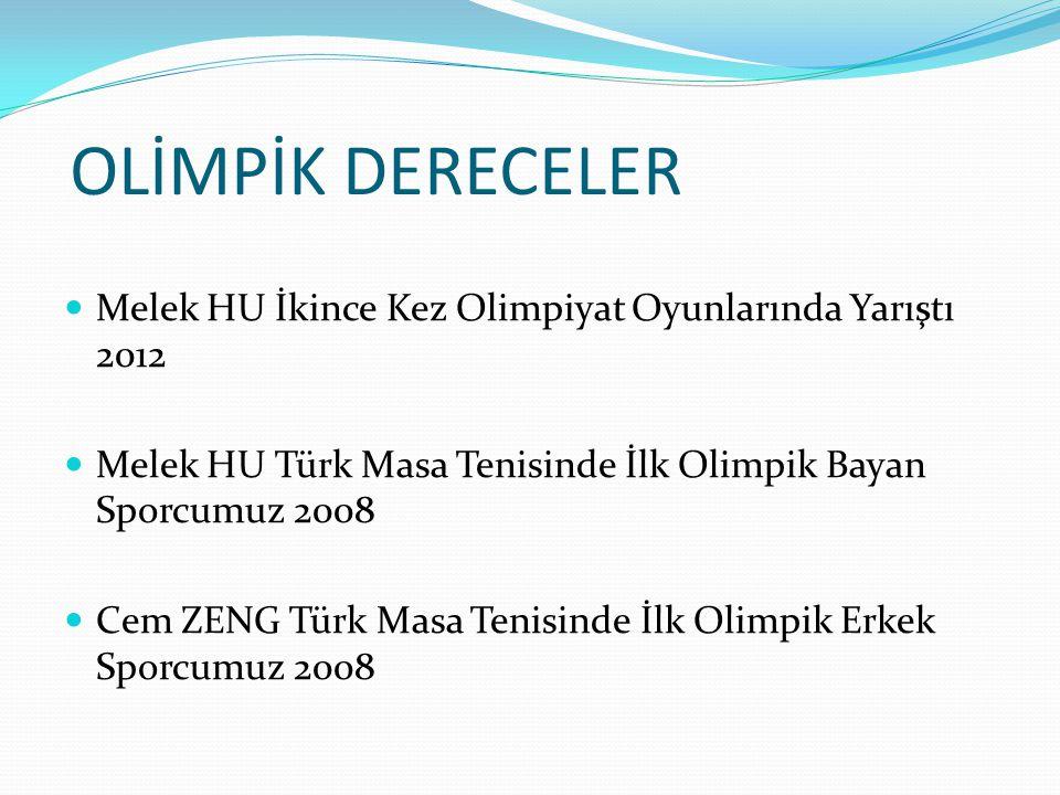 OLİMPİK DERECELER Melek HU İkince Kez Olimpiyat Oyunlarında Yarıştı 2012 Melek HU Türk Masa Tenisinde İlk Olimpik Bayan Sporcumuz 2008 Cem ZENG Türk M