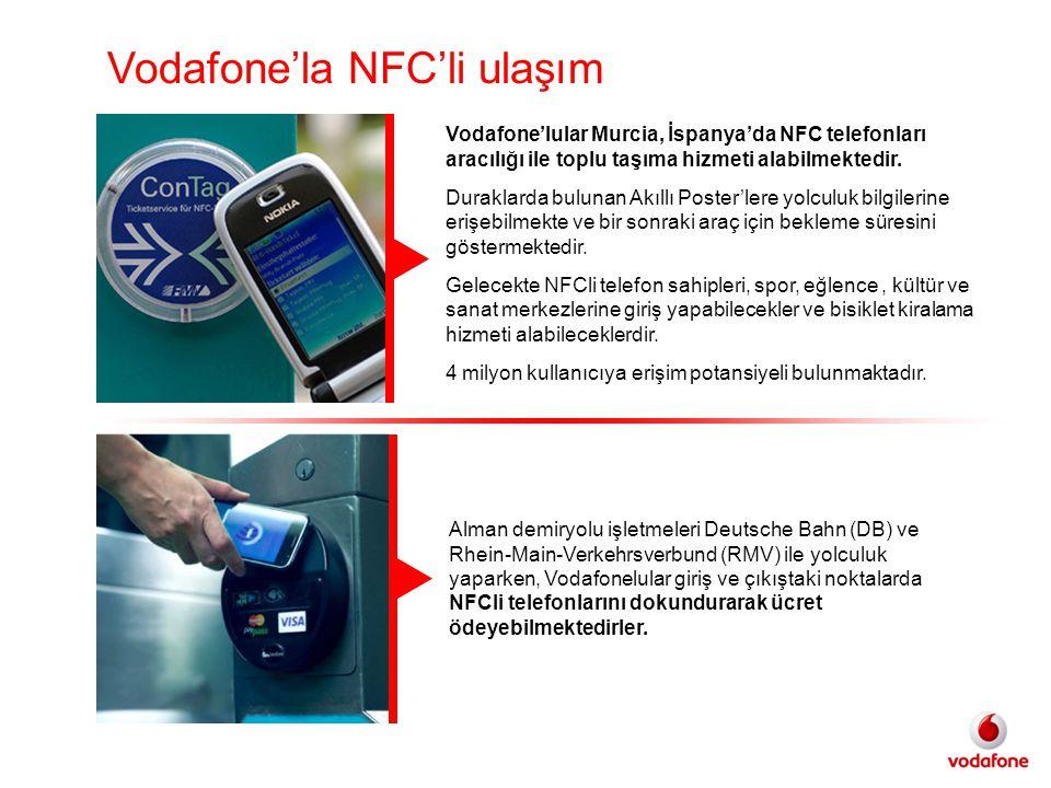 Vodafone'lular Murcia, İspanya'da NFC telefonları aracılığı ile toplu taşıma hizmeti alabilmektedir.