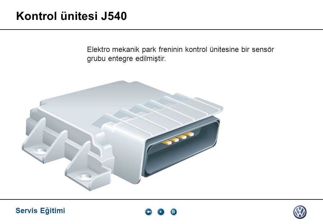 Servis Eğitimi Kontrol ünitesi J540 Elektro mekanik park freninin kontrol ünitesine bir sensör grubu entegre edilmiştir.
