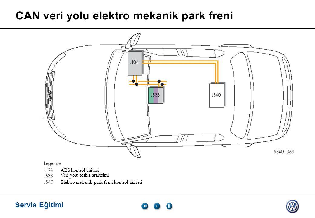 Servis Eğitimi CAN veri yolu elektro mekanik park freni ABS kontrol ünitesi Veri yolu teşhis arabirimi Elektro mekanik park freni kontrol ünitesi