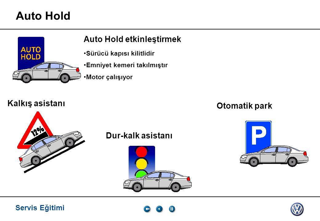 Servis Eğitimi Auto Hold Auto Hold etkinleştirmek Sürücü kapısı kilitlidir Emniyet kemeri takılmıştır Motor çalışıyor Kalkış asistanı Dur-kalk asistan
