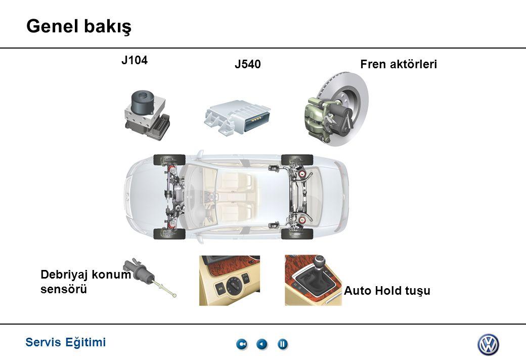 Servis Eğitimi Genel bakış J104 J540Fren aktörleri Debriyaj konum sensörü Auto Hold tuşu