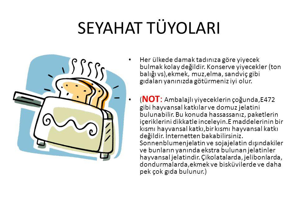 SEYAHAT TÜYOLARI Her ülkede damak tadınıza göre yiyecek bulmak kolay değildir. Konserve yiyecekler (ton balığı vs),ekmek, muz,elma, sandviç gibi gıdal