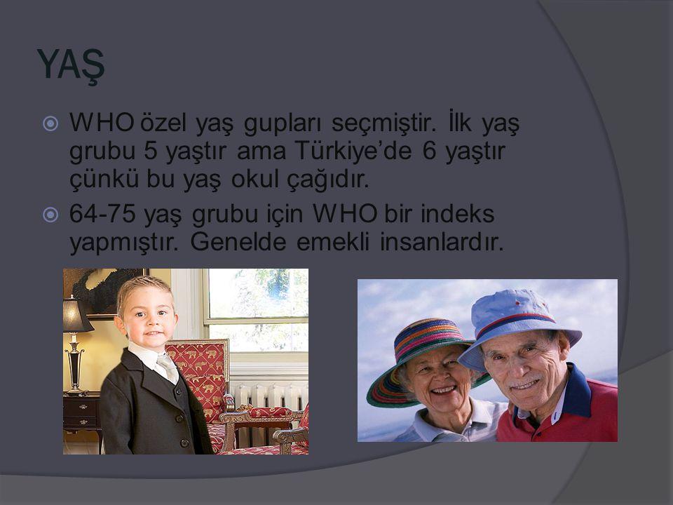 YAŞ  WHO özel yaş gupları seçmiştir. İlk yaş grubu 5 yaştır ama Türkiye'de 6 yaştır çünkü bu yaş okul çağıdır.  64-75 yaş grubu için WHO bir indeks