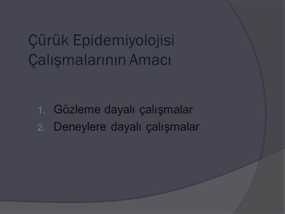 Çürük Epidemiyolojisi Çalışmalarının Amacı 1. Gözleme dayalı çalışmalar 2. Deneylere dayalı çalışmalar