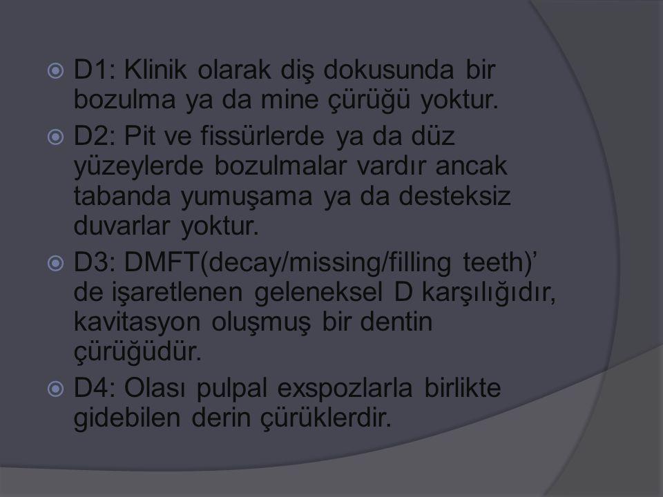  D1: Klinik olarak diş dokusunda bir bozulma ya da mine çürüğü yoktur.  D2: Pit ve fissürlerde ya da düz yüzeylerde bozulmalar vardır ancak tabanda