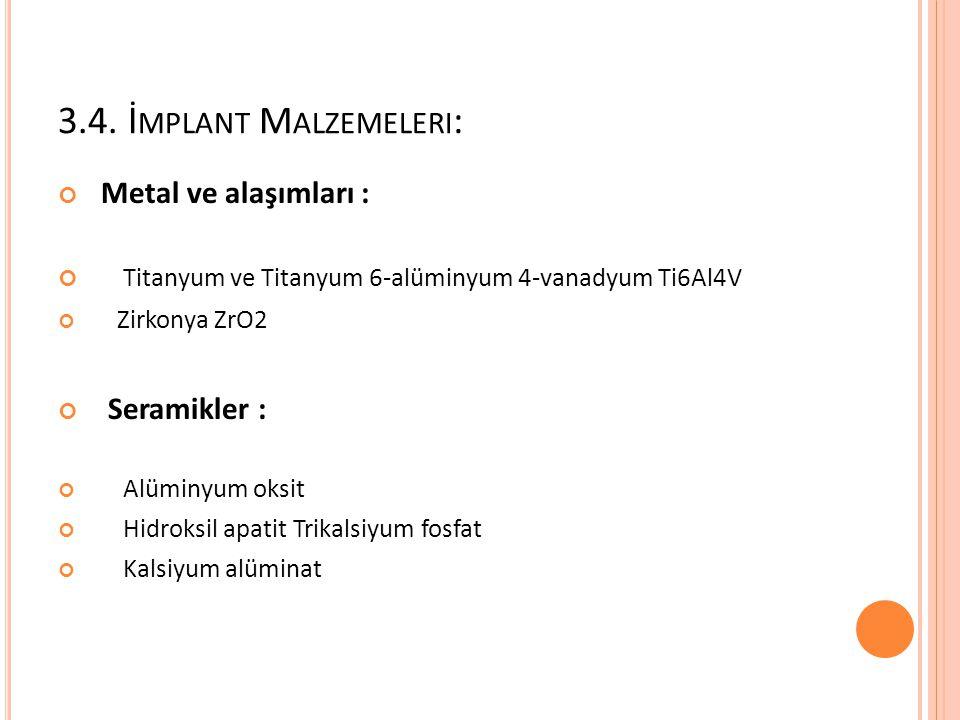 3.4. İ MPLANT M ALZEMELERI : Metal ve alaşımları : Titanyum ve Titanyum 6-alüminyum 4-vanadyum Ti6Al4V Zirkonya ZrO2 Seramikler : Alüminyum oksit Hidr