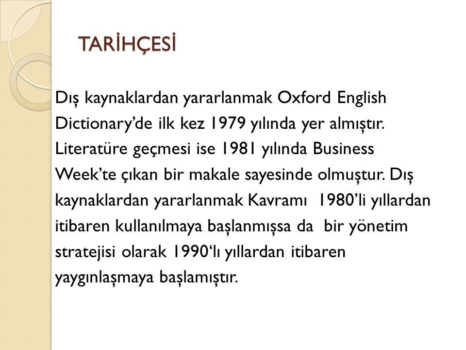 TAR İ HÇES İ Dış kaynaklardan yararlanmak Oxford English Dictionary'de ilk kez 1979 yılında yer almıştır. Literatüre geçmesi ise 1981 yılında Business