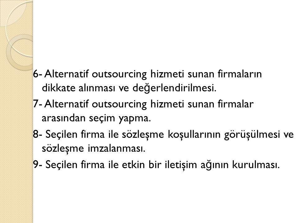 6- Alternatif outsourcing hizmeti sunan firmaların dikkate alınması ve de ğ erlendirilmesi. 7- Alternatif outsourcing hizmeti sunan firmalar arasından