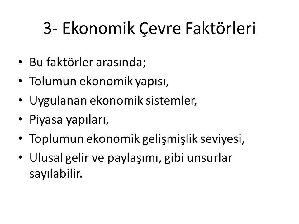 3- Ekonomik Çevre Faktörleri Bu faktörler arasında; Tolumun ekonomik yapısı, Uygulanan ekonomik sistemler, Piyasa yapıları, Toplumun ekonomik gelişmiş