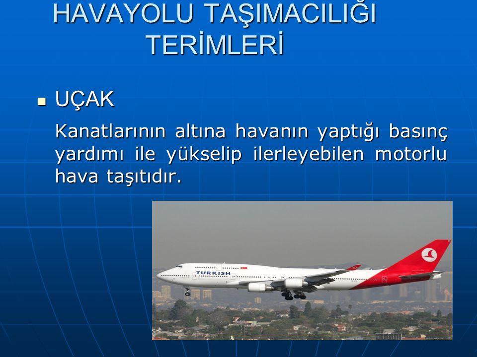 HAVAYOLU TAŞIMACILIĞI TERMİNOLOJİSİ PİLOT PİLOT Profesyonel veya hususi olarak bir hava taşıtını kullanan kişidir.