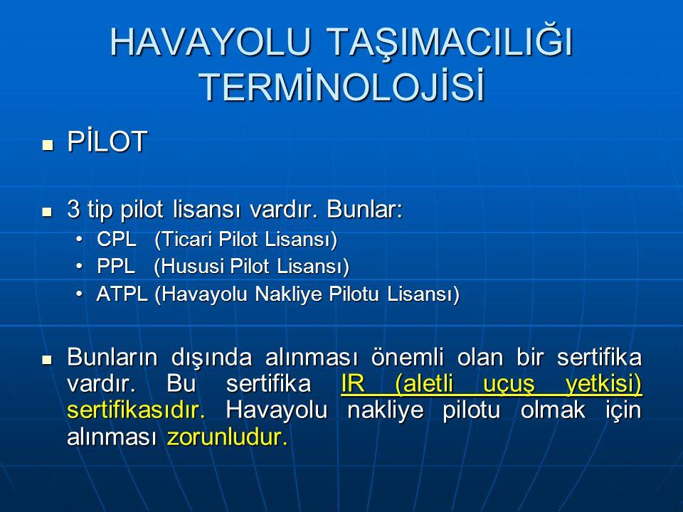 HAVAYOLU TAŞIMACILIĞI TERMİNOLOJİSİ PİLOT PİLOT 3 tip pilot lisansı vardır.