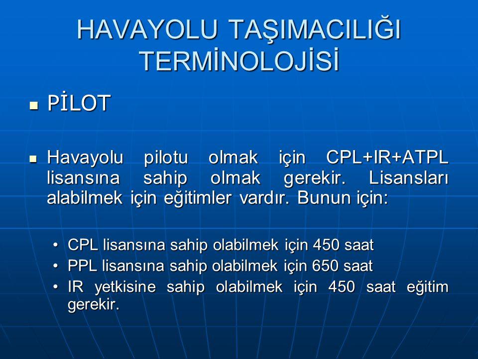 HAVAYOLU TAŞIMACILIĞI TERMİNOLOJİSİ PİLOT PİLOT Havayolu pilotu olmak için CPL+IR+ATPL lisansına sahip olmak gerekir.