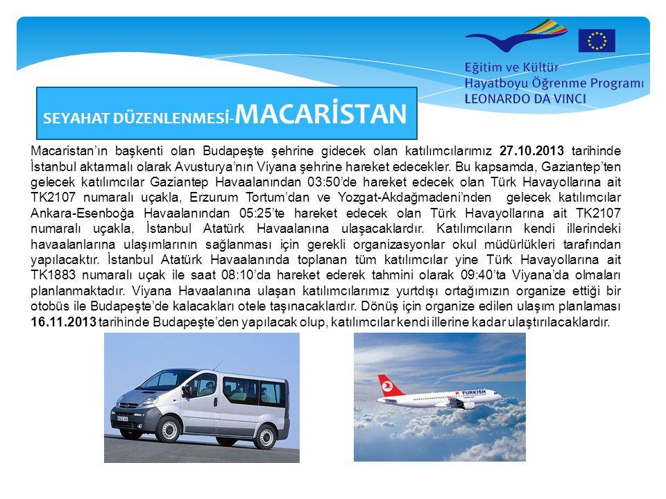 SEYAHAT DÜZENLENMESİ- MACARİSTAN Macaristan'ın başkenti olan Budapeşte şehrine gidecek olan katılımcılarımız 27.10.2013 tarihinde İstanbul aktarmalı o