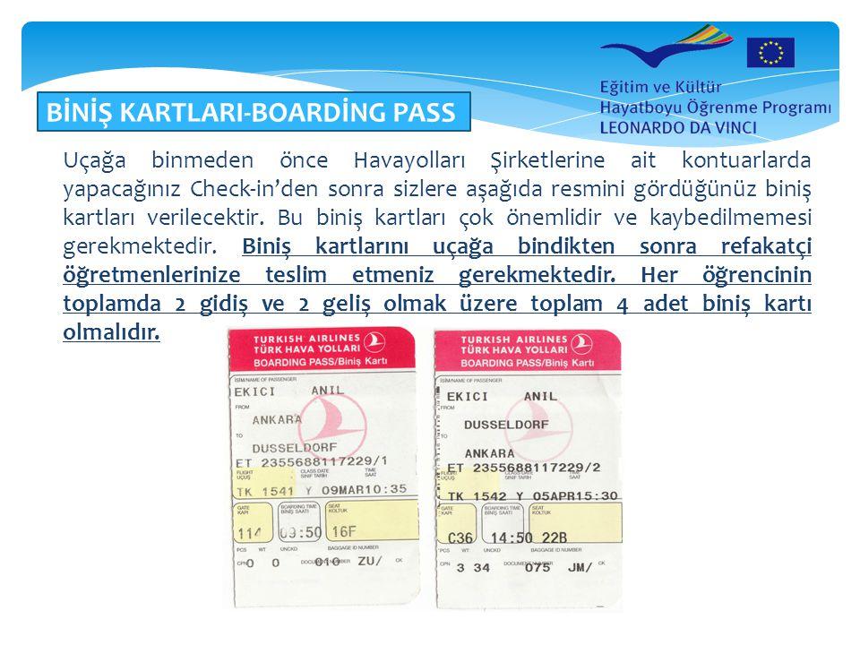 BİNİŞ KARTLARI-BOARDİNG PASS Uçağa binmeden önce Havayolları Şirketlerine ait kontuarlarda yapacağınız Check-in'den sonra sizlere aşağıda resmini görd