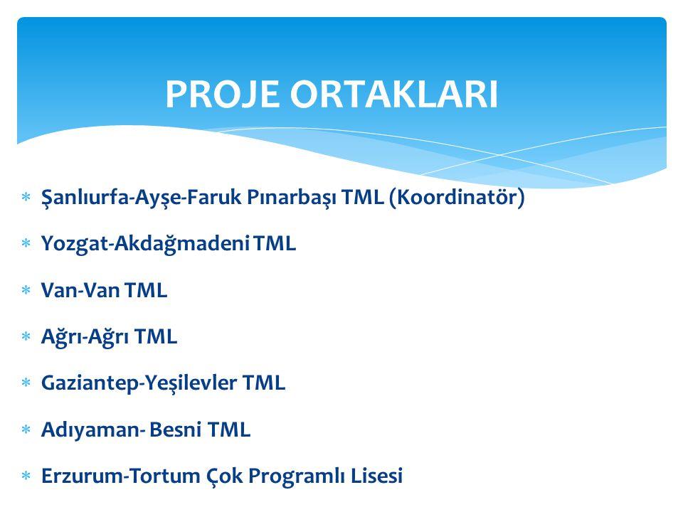  Şanlıurfa-Ayşe-Faruk Pınarbaşı TML (Koordinatör)  Yozgat-Akdağmadeni TML  Van-Van TML  Ağrı-Ağrı TML  Gaziantep-Yeşilevler TML  Adıyaman- Besni
