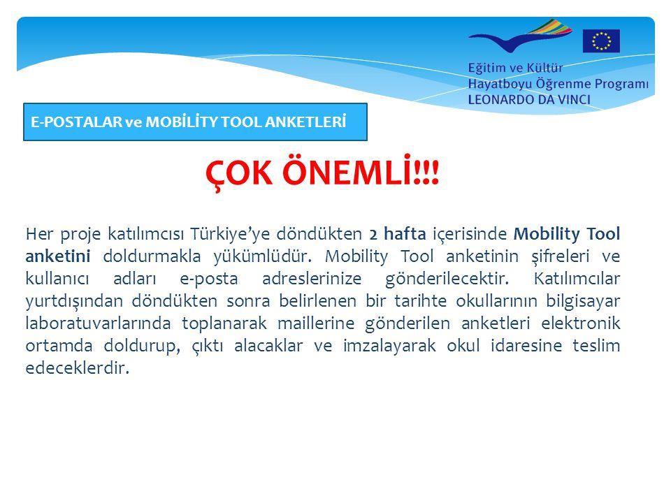 E-POSTALAR ve MOBİLİTY TOOL ANKETLERİ ÇOK ÖNEMLİ!!! Her proje katılımcısı Türkiye'ye döndükten 2 hafta içerisinde Mobility Tool anketini doldurmakla y