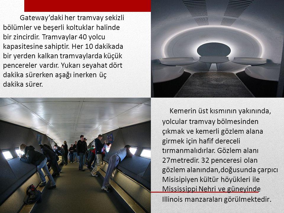 Kemerin zemin seviyesinin hemen altında dört çukur bulunan 44 aydınlatma bulunmaktadır.