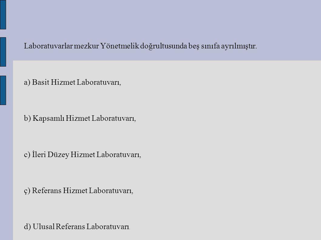 Laboratuvarlar mezkur Yönetmelik doğrultusunda beş sınıfa ayrılmıştır. a) Basit Hizmet Laboratuvarı, b) Kapsamlı Hizmet Laboratuvarı, c) İleri Düzey H