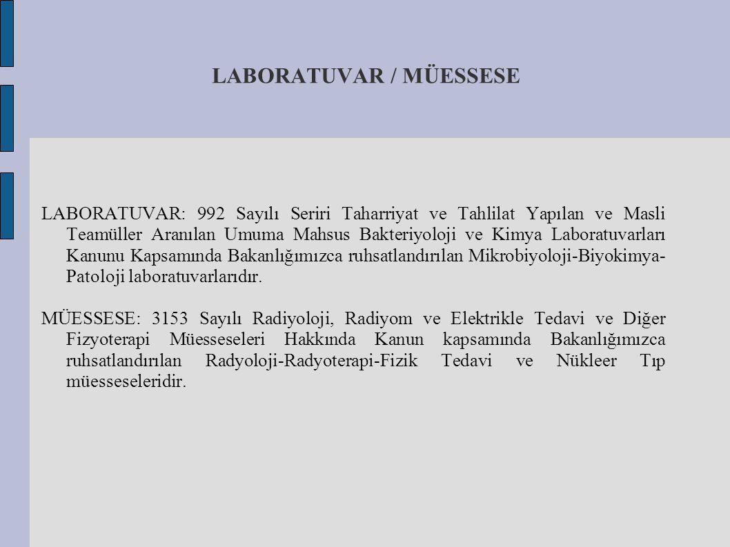 LABORATUVAR / MÜESSESE LABORATUVAR: 992 Sayılı Seriri Taharriyat ve Tahlilat Yapılan ve Masli Teamüller Aranılan Umuma Mahsus Bakteriyoloji ve Kimya L