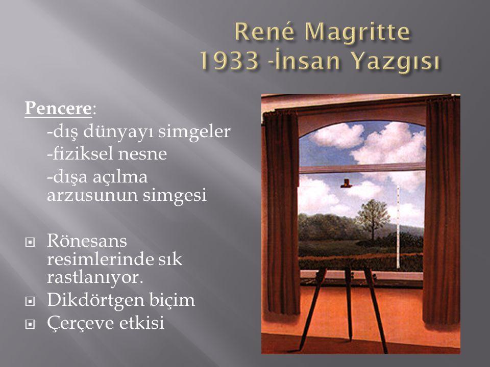 Pencere : -dış dünyayı simgeler -fiziksel nesne -dışa açılma arzusunun simgesi  Rönesans resimlerinde sık rastlanıyor.  Dikdörtgen biçim  Çerçeve e