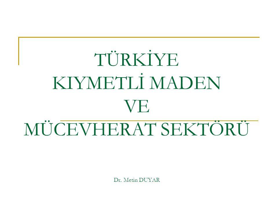 TÜRKİYE KIYMETLİ MADEN VE MÜCEVHERAT SEKTÖRÜ Dr. Metin DUYAR