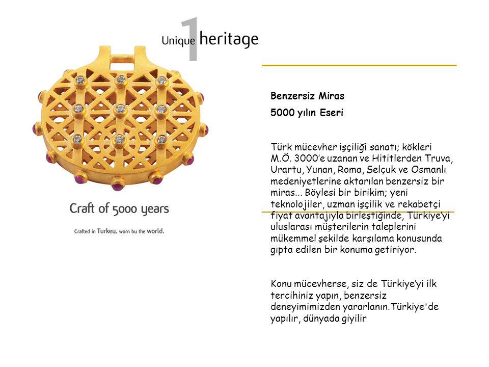 Benzersiz Miras 5000 yılın Eseri Türk mücevher işçiliği sanatı; kökleri M.Ö. 3000'e uzanan ve Hititlerden Truva, Urartu, Yunan, Roma, Selçuk ve Osmanl