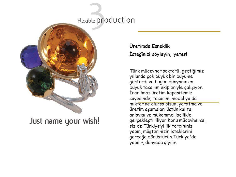 Üretimde Esneklik İsteğinizi söyleyin, yeter! Türk mücevher sektörü, geçtiğimiz yıllarda çok büyük bir büyüme gösterdi ve bugün dünyanın en büyük tasa