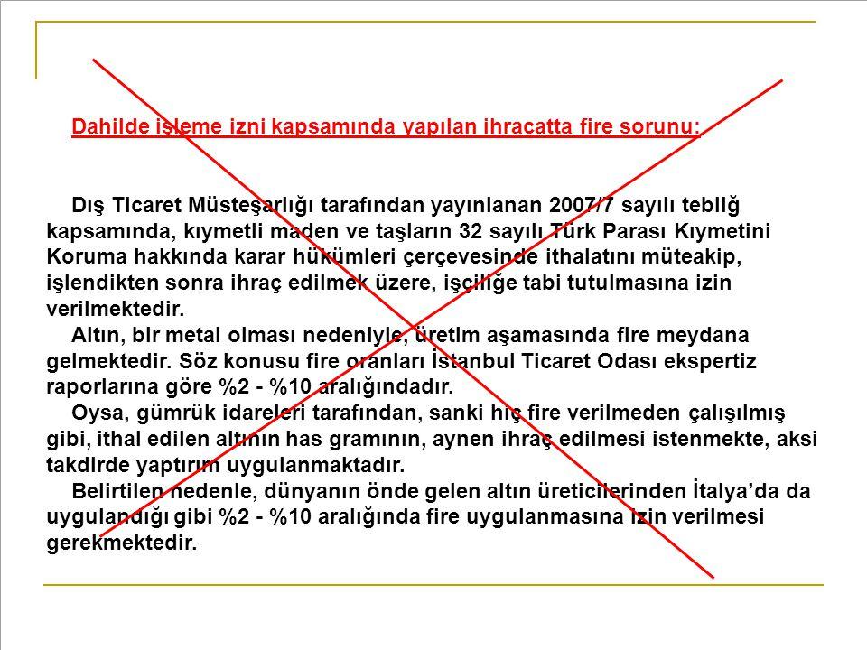 Dahilde işleme izni kapsamında yapılan ihracatta fire sorunu: Dış Ticaret Müsteşarlığı tarafından yayınlanan 2007/7 sayılı tebliğ kapsamında, kıymetli