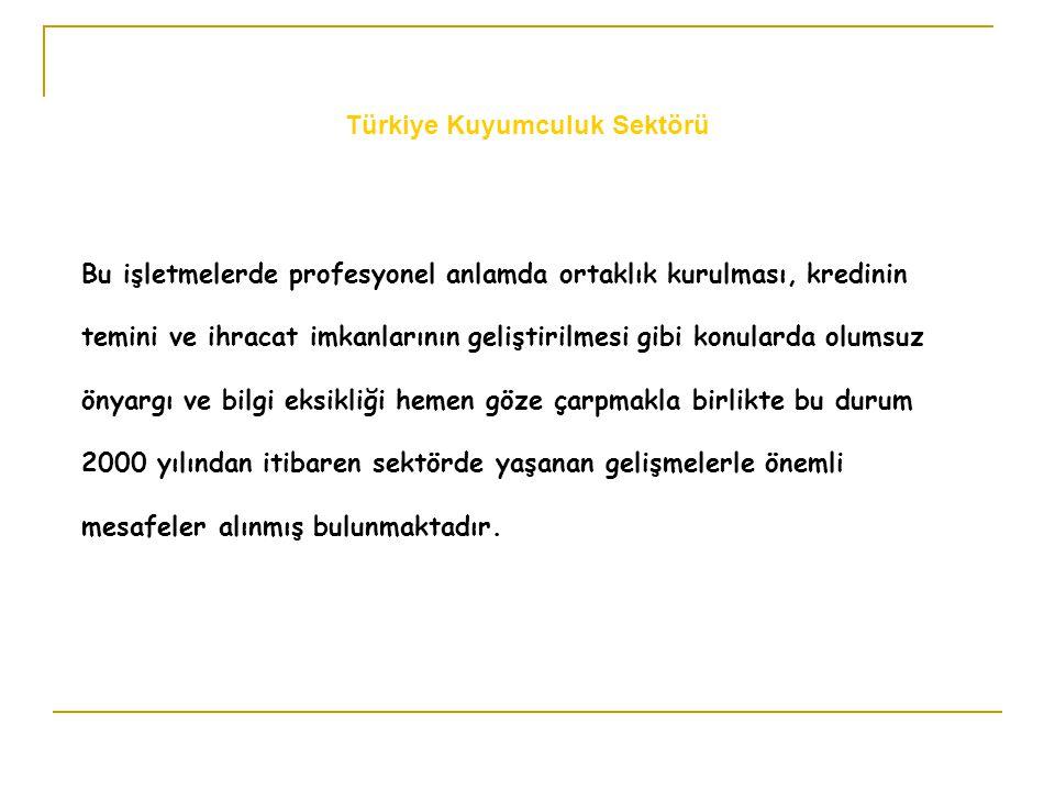 Türkiye kuyumculuk sektörünün finansal sermaye yapısına baktığımızda işletme sermayelerinin tümünün firma sahibinin aile mal varlıklarından oluştuğu görülmektedir.