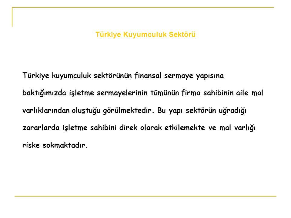 Türkiye kuyumculuk sektörünün finansal sermaye yapısına baktığımızda işletme sermayelerinin tümünün firma sahibinin aile mal varlıklarından oluştuğu g