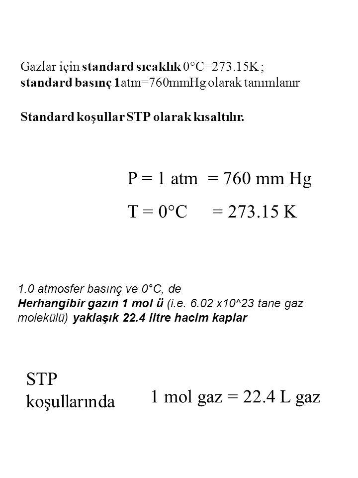 P = 1 atm = 760 mm Hg T = 0°C = 273.15 K Gazlar için standard sıcaklık 0  C=273.15K ; standard basınç 1atm=760mmHg olarak tanımlanır Standard koşulla
