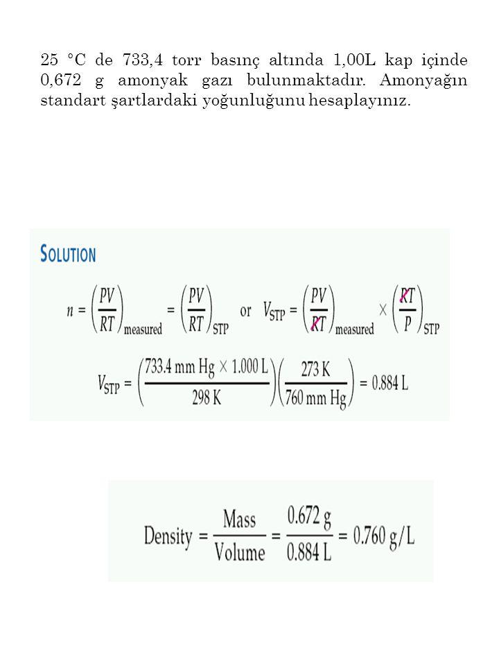 25 °C de 733,4 torr basınç altında 1,00L kap içinde 0,672 g amonyak gazı bulunmaktadır. Amonyağın standart şartlardaki yoğunluğunu hesaplayınız.