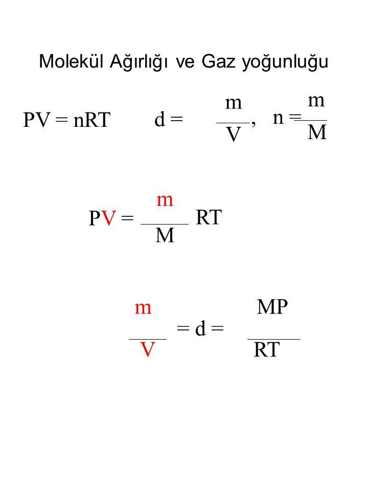 Molekül Ağırlığı ve Gaz yoğunluğu PV = nRT d = m V PV =PV = m M RT MP RTV m = d =, n = m M