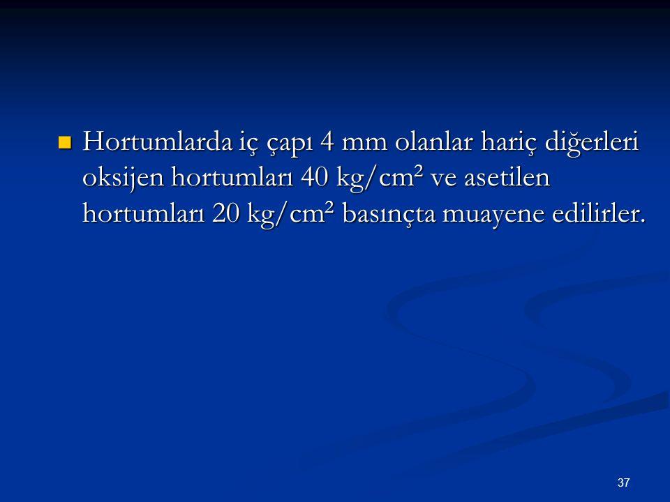 37 Hortumlarda iç çapı 4 mm olanlar hariç diğerleri oksijen hortumları 40 kg/cm 2 ve asetilen hortumları 20 kg/cm 2 basınçta muayene edilirler. Hortum