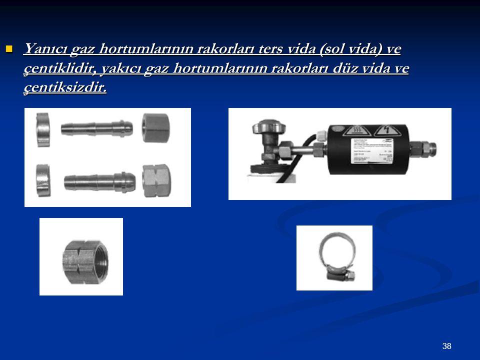 38 Yanıcı gaz hortumlarının rakorları ters vida (sol vida) ve çentiklidir, yakıcı gaz hortumlarının rakorları düz vida ve çentiksizdir. Yanıcı gaz hor