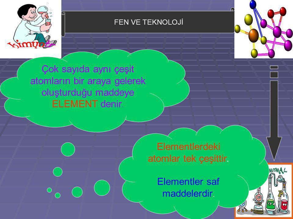 FEN VE TEKNOLOJİ Çok sayıda aynı çeşit atomların bir araya gelerek oluşturduğu maddeye ELEMENT denir. Elementlerdeki atomlar tek çeşittir. Elementler