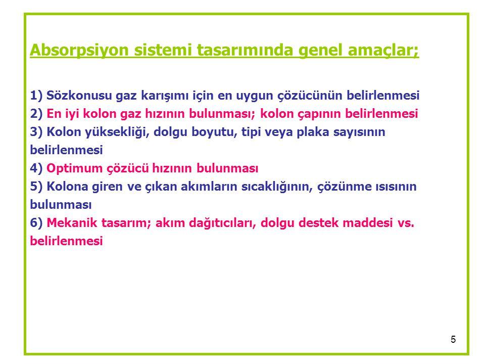 5 Absorpsiyon sistemi tasarımında genel amaçlar; 1) Sözkonusu gaz karışımı için en uygun çözücünün belirlenmesi 2) En iyi kolon gaz hızının bulunması;