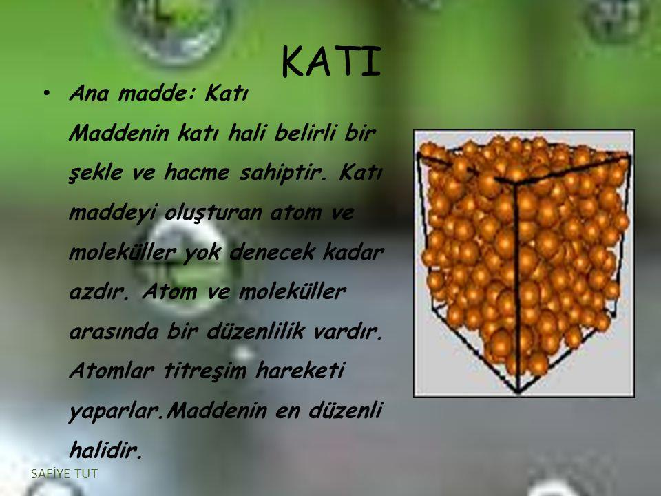 KATI Ana madde: Katı Maddenin katı hali belirli bir şekle ve hacme sahiptir. Katı maddeyi oluşturan atom ve moleküller yok denecek kadar azdır. Atom v