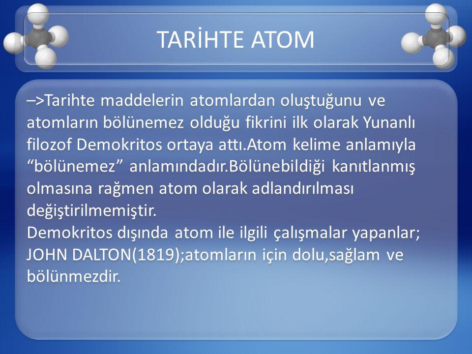 –>Tarihte maddelerin atomlardan oluştuğunu ve atomların bölünemez olduğu fikrini ilk olarak Yunanlı filozof Demokritos ortaya attı.Atom kelime anlamıy