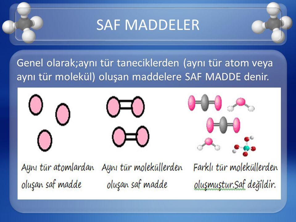 Genel olarak;aynı tür taneciklerden (aynı tür atom veya aynı tür molekül) oluşan maddelere SAF MADDE denir. SAF MADDELER