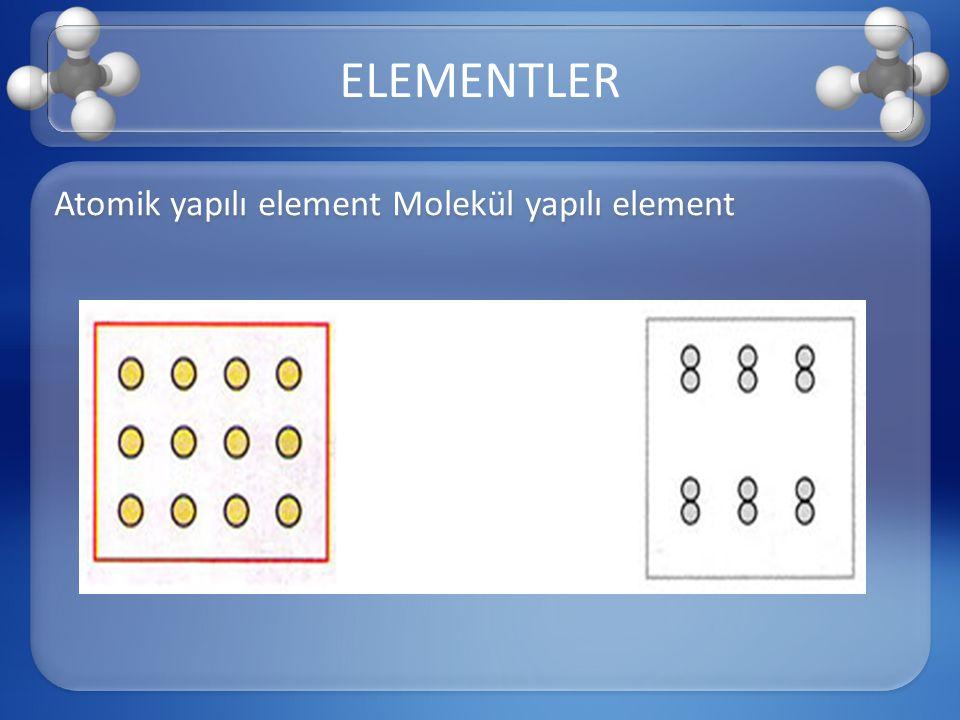 Atomik yapılı element Molekül yapılı element ELEMENTLER