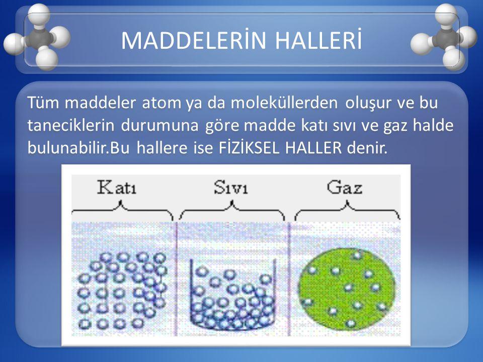 Tüm maddeler atom ya da moleküllerden oluşur ve bu taneciklerin durumuna göre madde katı sıvı ve gaz halde bulunabilir.Bu hallere ise FİZİKSEL HALLER